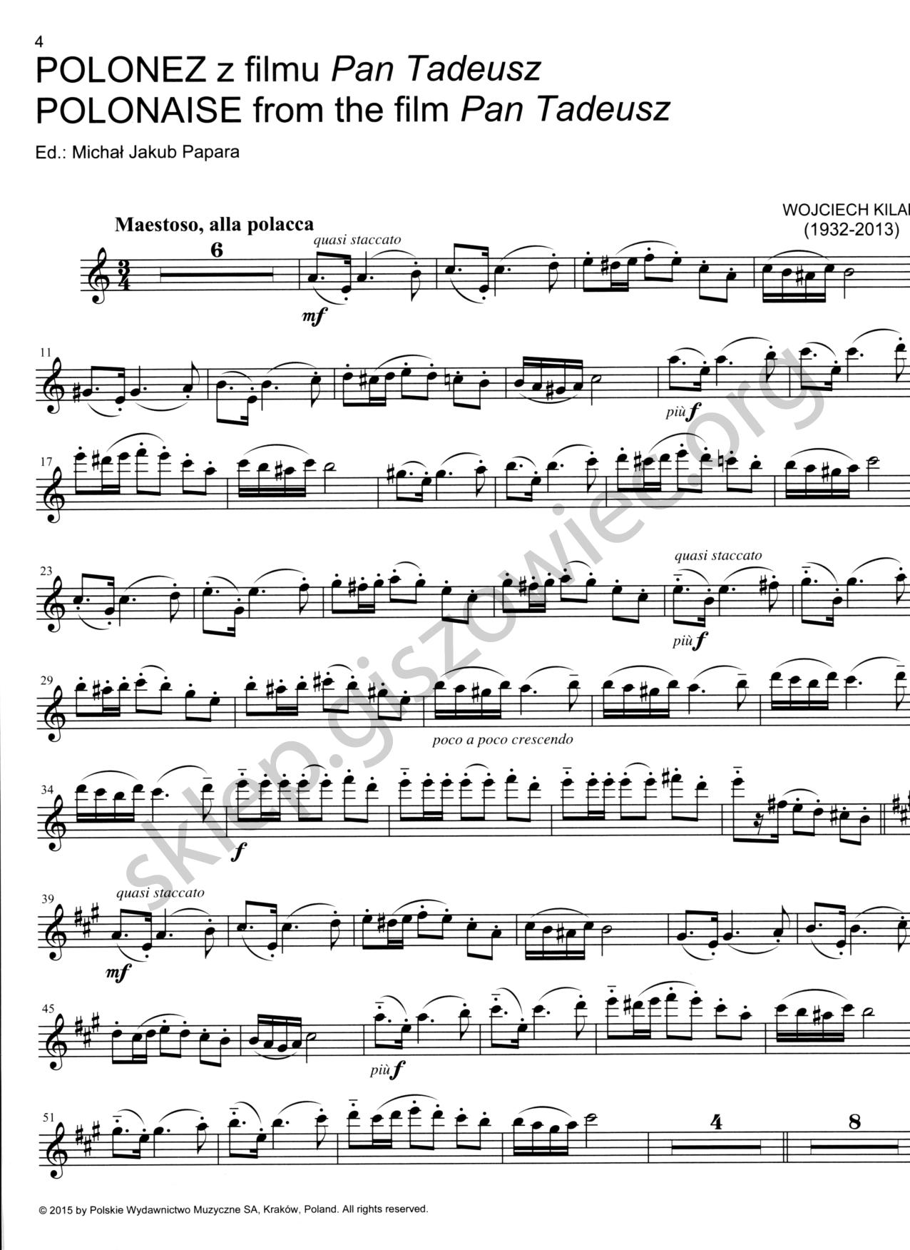 Wojciech Kilar Muzyka Filmowa Na Skrzypce Flet I Fortepian